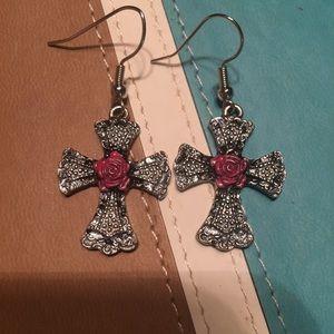 Rose cross earrings NWT